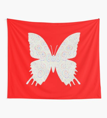 #DeepDream White Butterfly Wall Tapestry