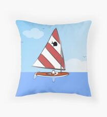 Sunfish Sailboat Throw Pillow
