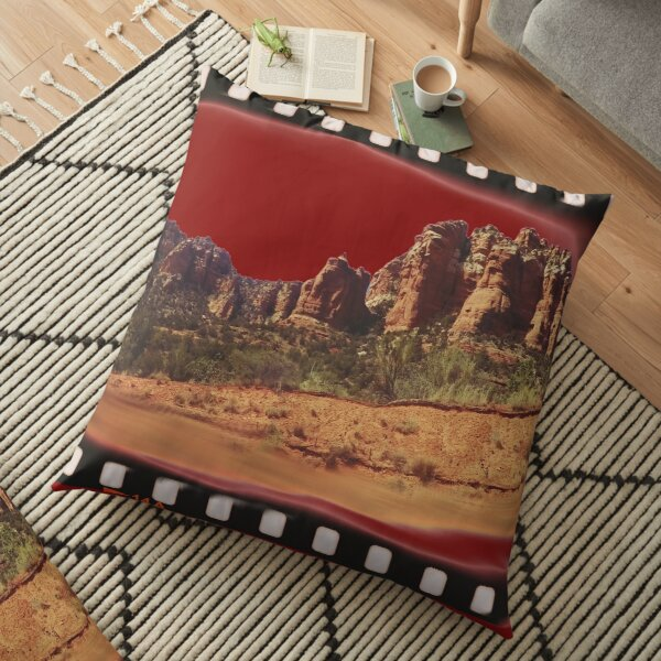 Sedona Arizona - Red Rock Filmstrip Scene Floor Pillow
