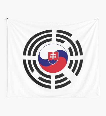 Korean Slovakian Multinational Patriot Flag Series Wall Tapestry