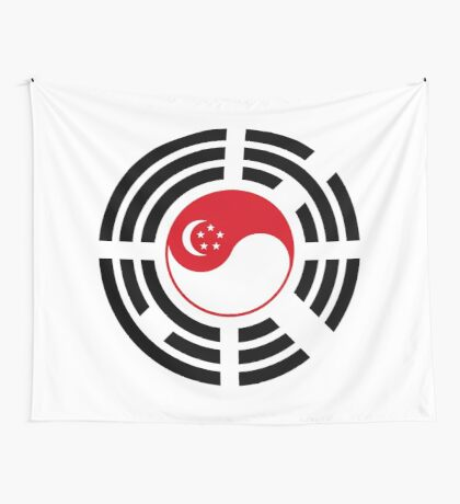 Korean Singapore Multinational Patriot Flag Series Wall Tapestry