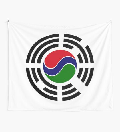 Korean Gambian Multinational Patriot Flag Series Wall Tapestry