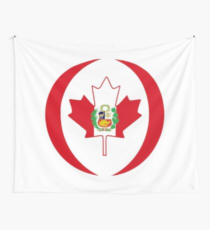 Peruvian Canadian Multinational Patriot Flag Series Wall Tapestry