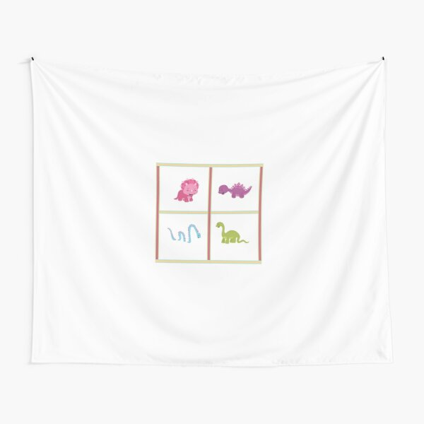 Dinamic Girls Collection - 4 Girl Dinosaurs Design Tapestry