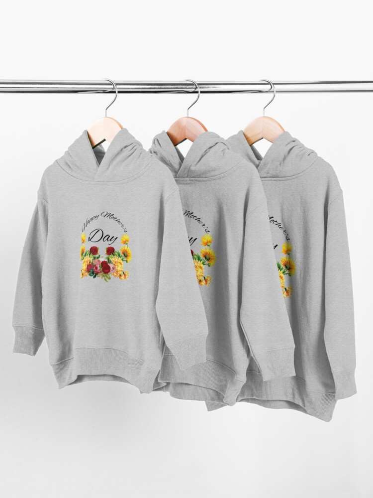 Alternate view of Happy Mothers Day Flowers Toddler Pullover Hoodie