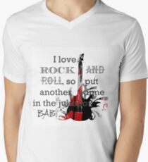 I LOVE ROCK AND ROLL Mens V-Neck T-Shirt