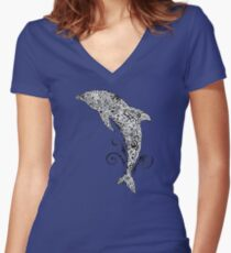 Dolphin Doodle Women's Fitted V-Neck T-Shirt
