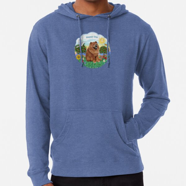 Happy Day with a Chow Chow (auburn) Lightweight Hoodie