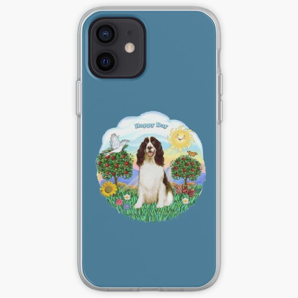 Happy Day with an English Springer Spaniel (liver and white) iPhone Soft Case
