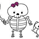 Skeleton Familien-Mann-Frau Cat Dog von ValeriesGallery