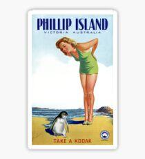 Phillip Island Victoria Australia Vintage Poster Restored Sticker