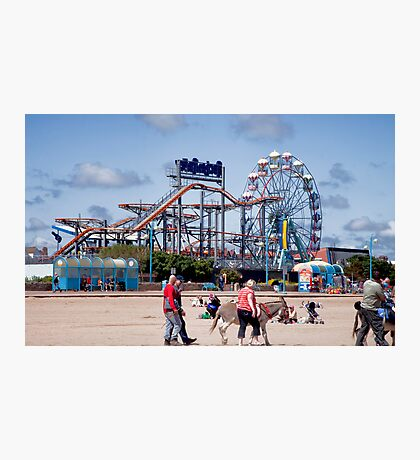 Skegness Fun Fair from the Beach Photographic Print