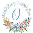 Watercolor Leaves Floral Monogram Letter O by Grafixmom