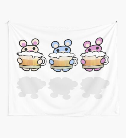 Three Chibis: Beer Wall Tapestry