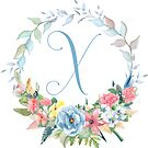Watercolor Leaves Floral Monogram Letter X by Grafixmom