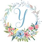 Watercolor Leaves Floral Monogram Letter Y by Grafixmom