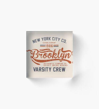 Vintage New York Brooklyn 1986 Acrylic Block
