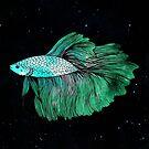 Green Betta Fish Galaxy by julieerindesign