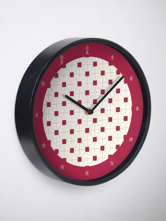 Alternate view of Hong Kong restaurant style - red and white VINTAGE floor tile Clock