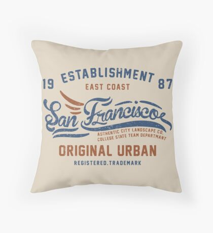 San Francisco Vintage Hand Lettering College Throw Pillow