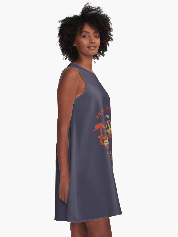 Alternate view of Premium Vintage Label Hand Lettering A-Line Dress