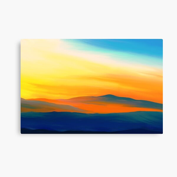 Landscape Painting with Yellow Clouds Canvas Print