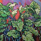 Wild callas. Oil on composition board 2017 by Elizabeth Moore Golding