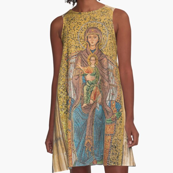 Ancient Golden Mosaic of Madonna and Child on a Wall in Syracuse, Sicily, Italy A-Line Dress