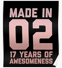 17th Birthday Gift Teens Age 17 Year Old Seventeen Girl Daughter Poster