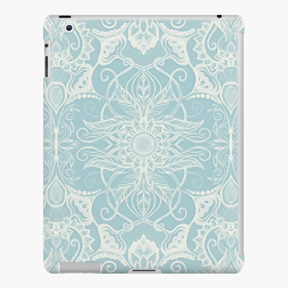 Estampado de flores en Duck Egg Blue & Cream Funda y vinilo para iPad