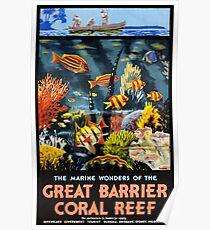 Australia Great Barrier Coral Reef Vintage Poster Poster