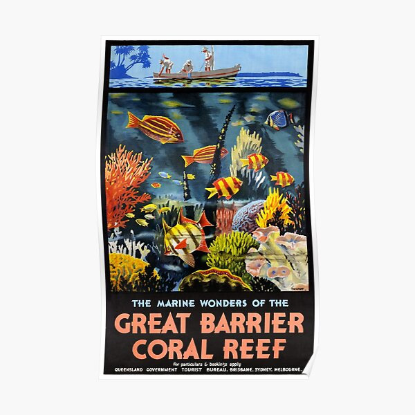 Australia Great Barrier Coral Reef Vintage Poster Poster
