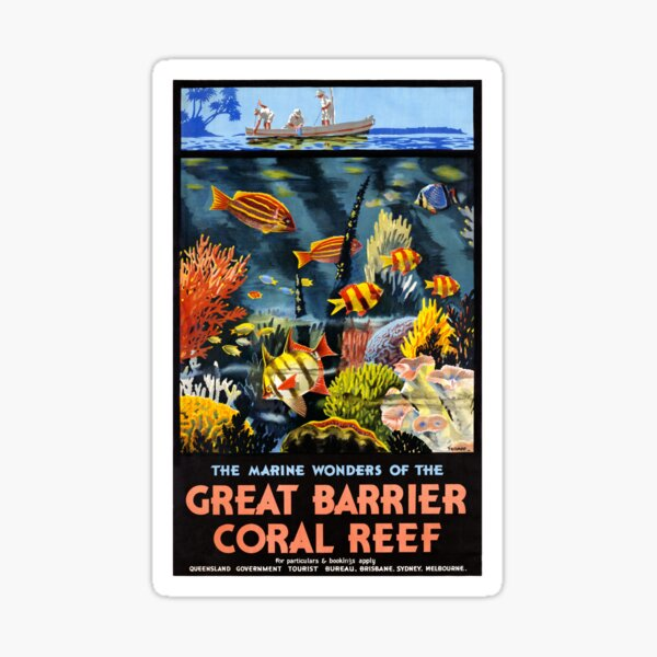 Australia Great Barrier Coral Reef Vintage Poster Sticker