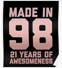 21st Birthday Gift Adult Age 21 Year Old Women Girl Daughter Poster