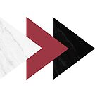 «Marble Jester hacia adelante flechas rojas Collage» de by-jwp