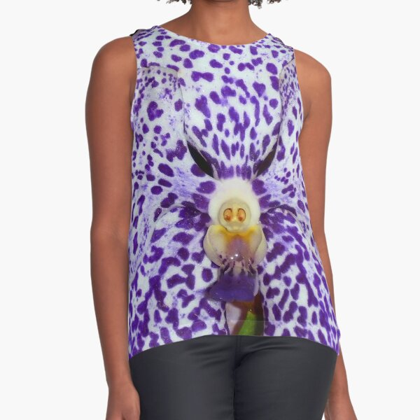 """gnome"" in purple and white orchid  Sleeveless Top"