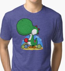 Wooly Egg Chucking Dinosaur Tri-blend T-Shirt