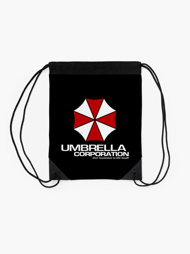 Alternate view of Umbrella Corporation logo inspired by Resident Evil Drawstring Bag