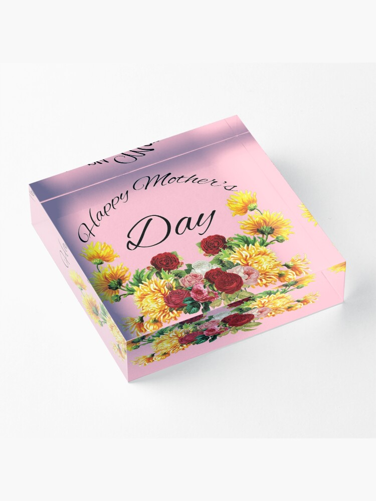 Alternate view of Happy Mothers Day Flowers Acrylic Block