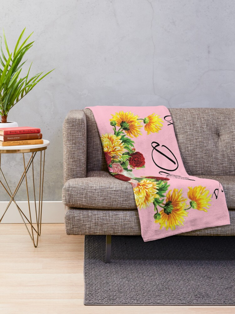 Alternate view of Happy Mothers Day Flowers Throw Blanket
