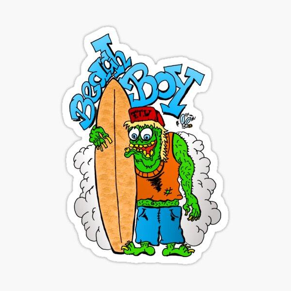 Beach Boy Surfer Monster - black Sticker