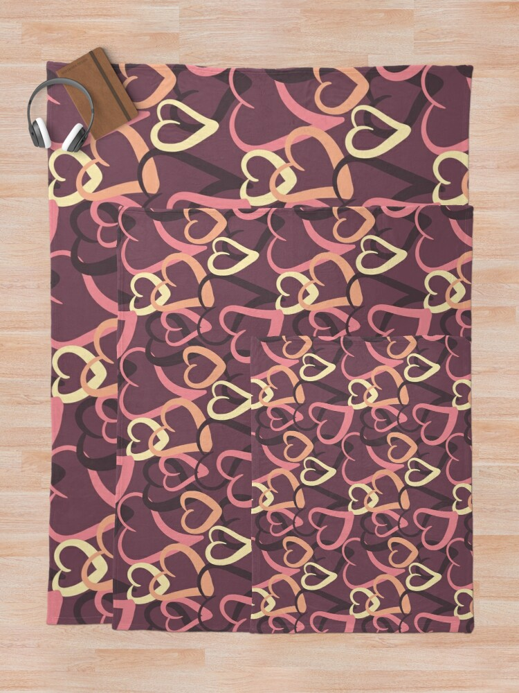 Alternate view of Sugary hearts on plum Throw Blanket