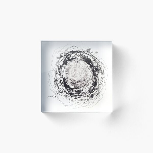 """Nest"" monotype and fineliner artwork Acrylic Block"