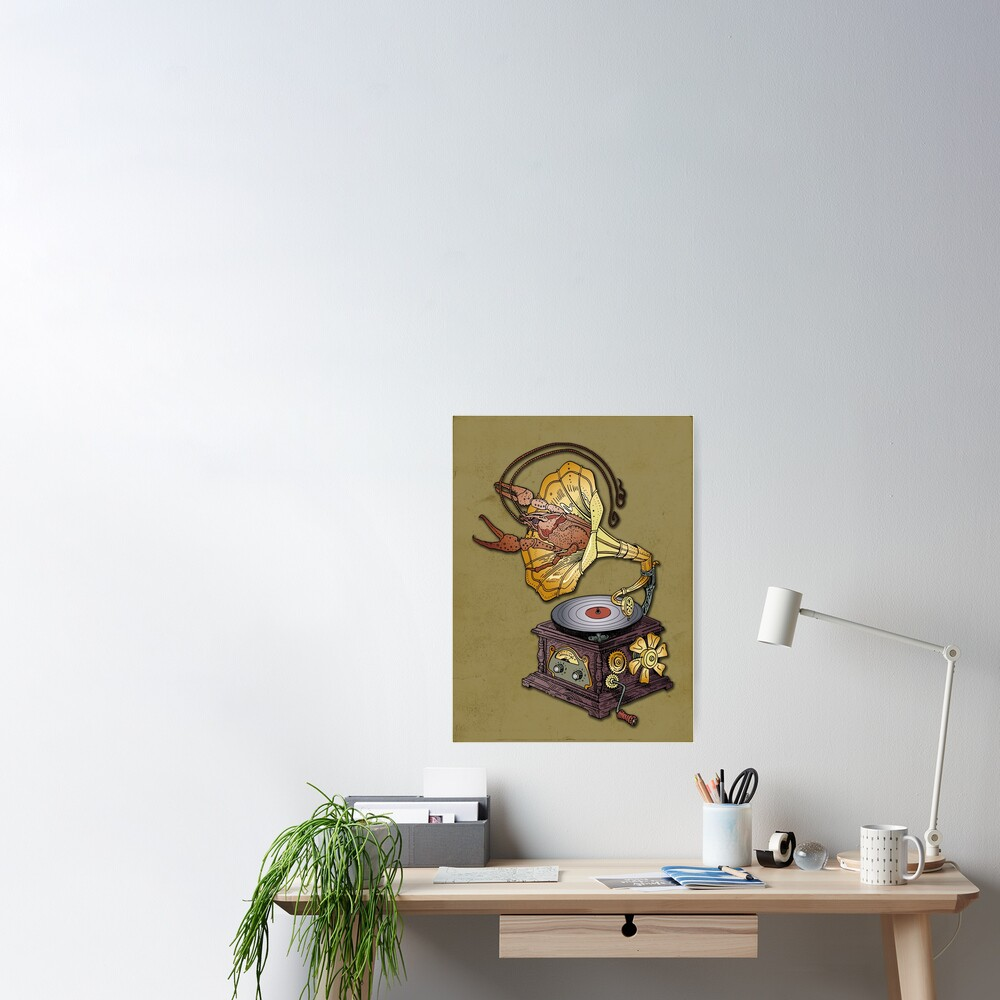 Grotesque vintage steampunk style gramophone with lobster crawling out of it.  Poster