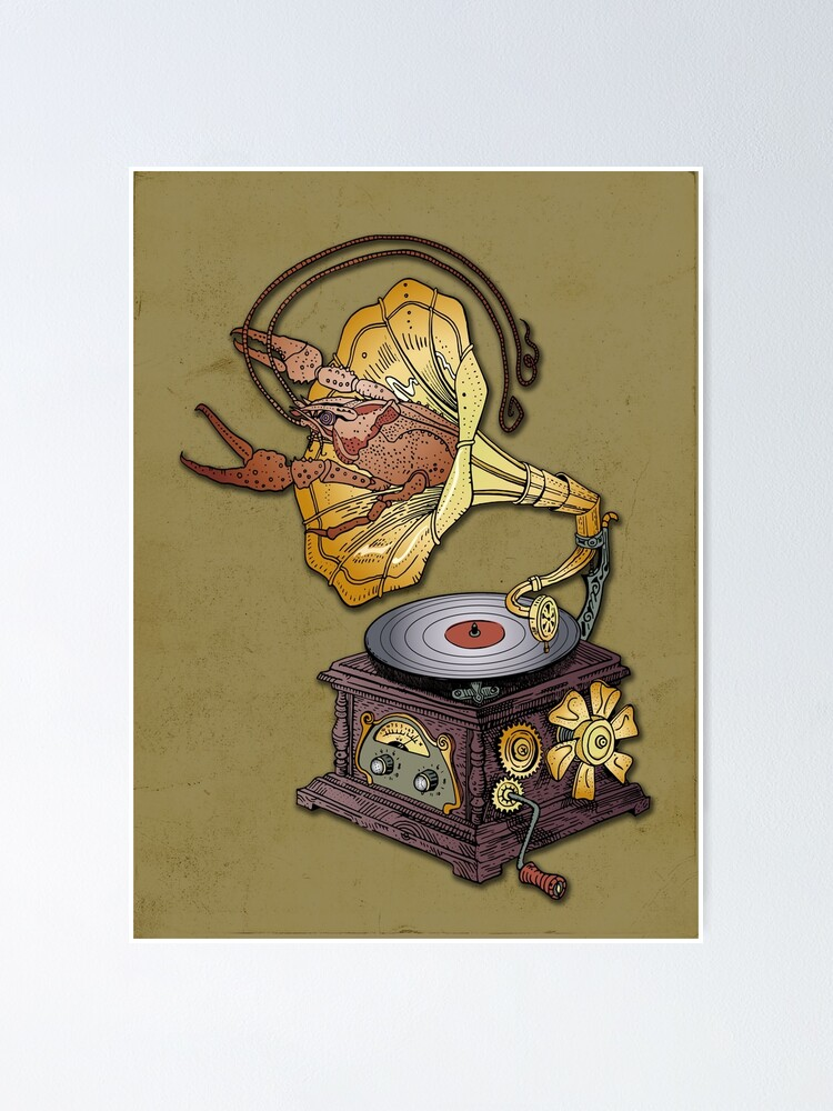 Alternate view of Grotesque vintage steampunk style gramophone with lobster crawling out of it.  Poster