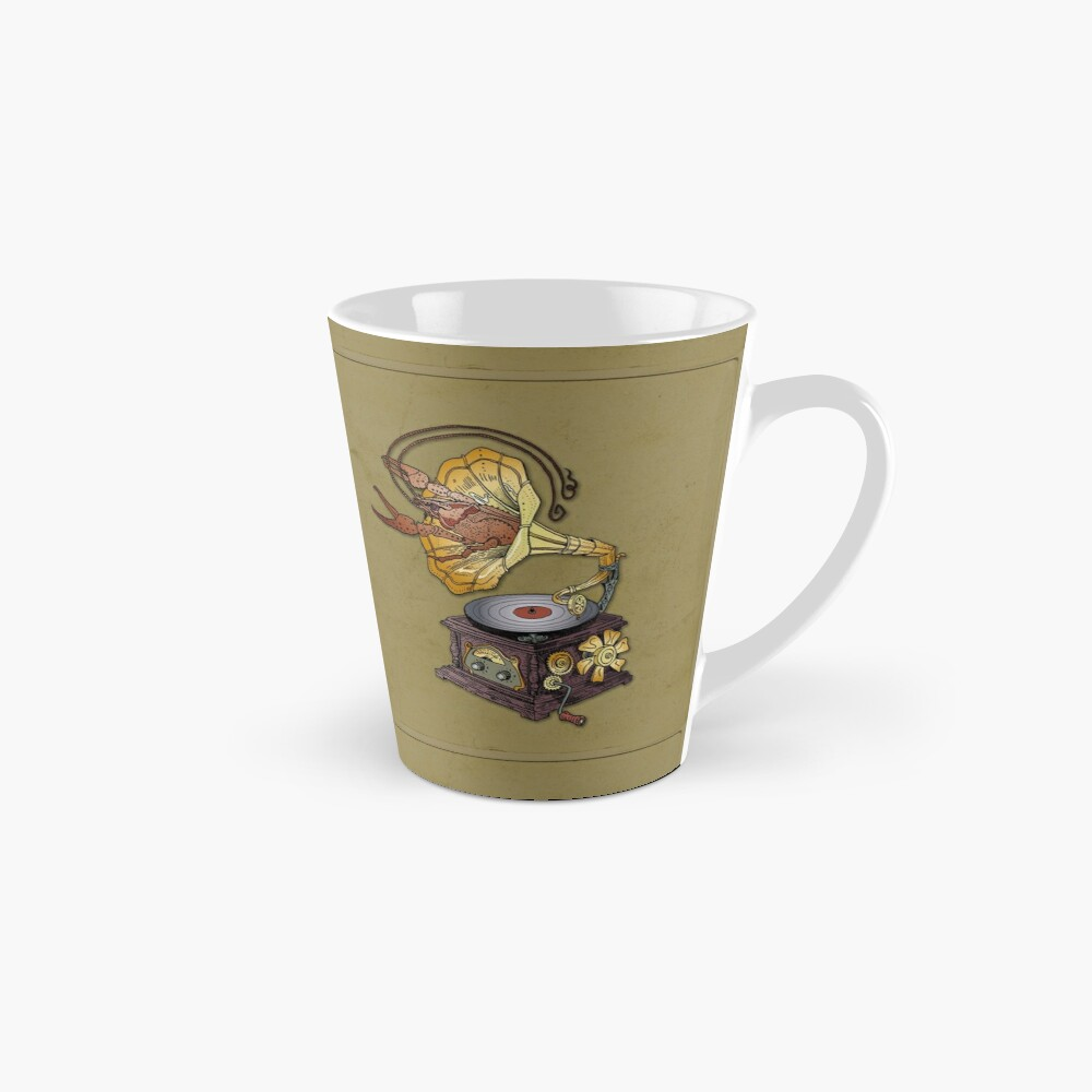 Grotesque vintage steampunk style gramophone with lobster crawling out of it.  Mug
