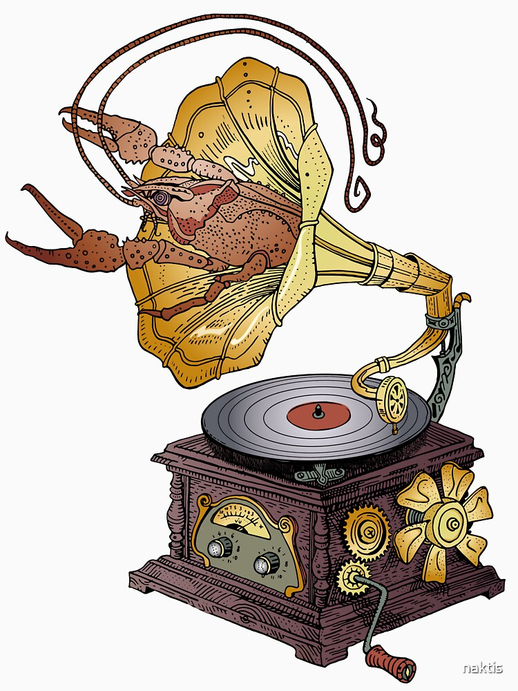 Grotesque vintage steampunk style gramophone with lobster crawling out of it.  by naktis