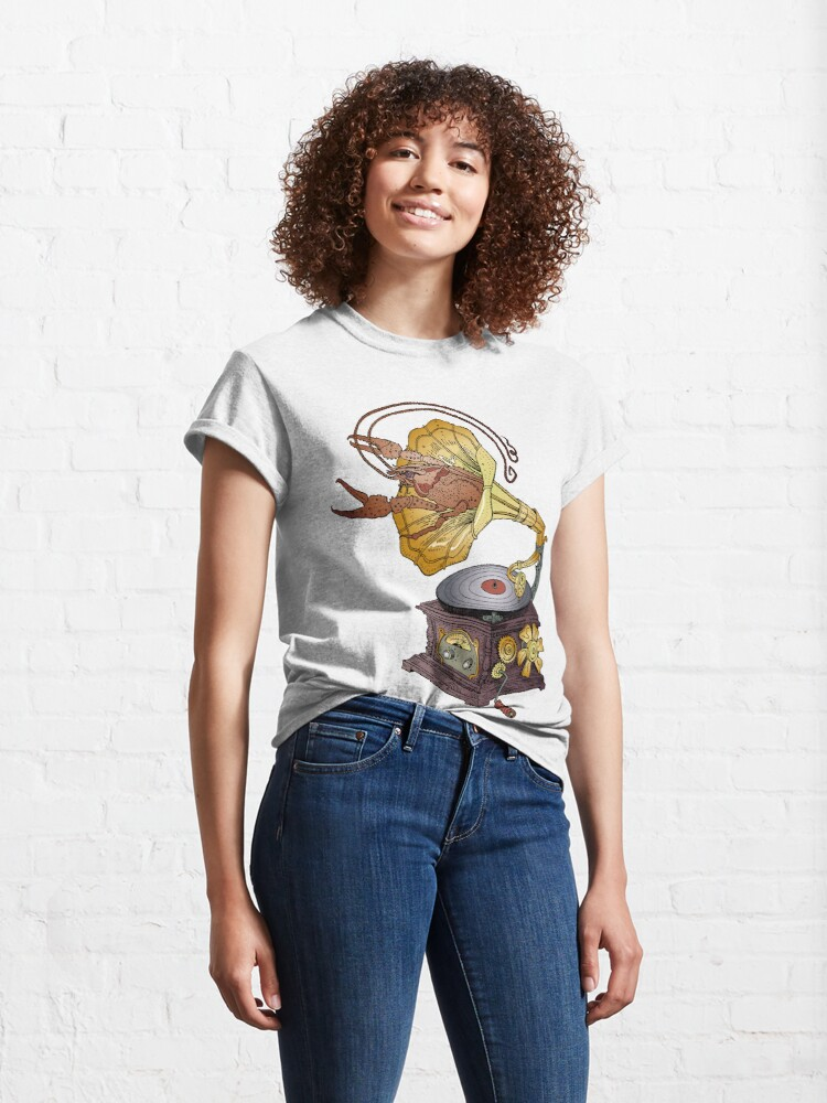 Alternate view of Grotesque vintage steampunk style gramophone with lobster crawling out of it.  Classic T-Shirt