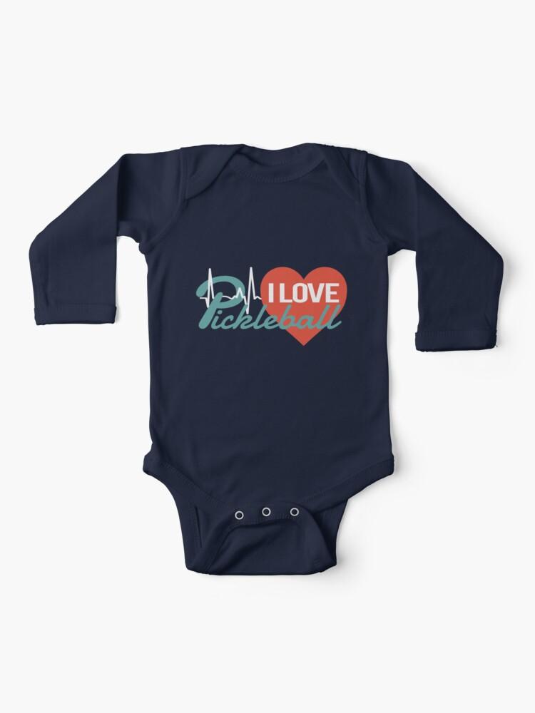 Newborn Kids Love Pickleball Printed Long Sleeve 100/% Cotton Infants Tee Shirt