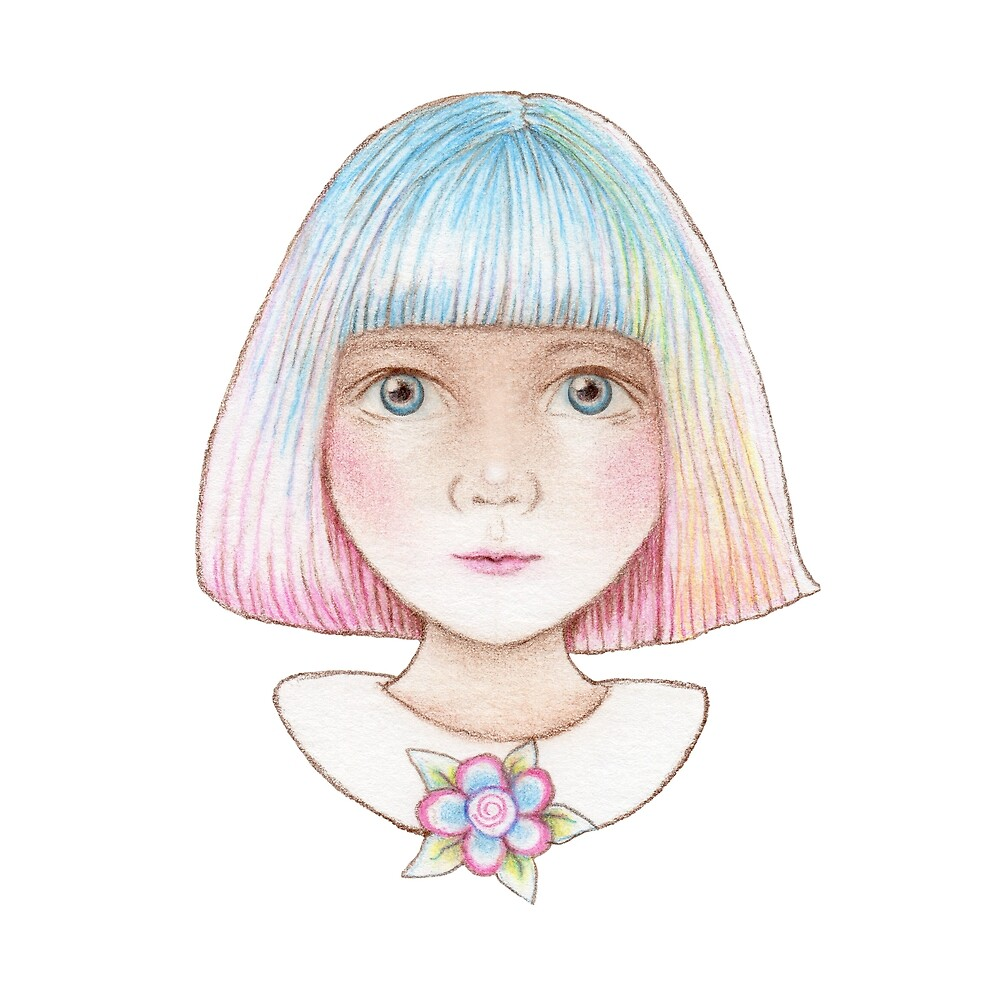 cute little girl with rainbow hair by trudette